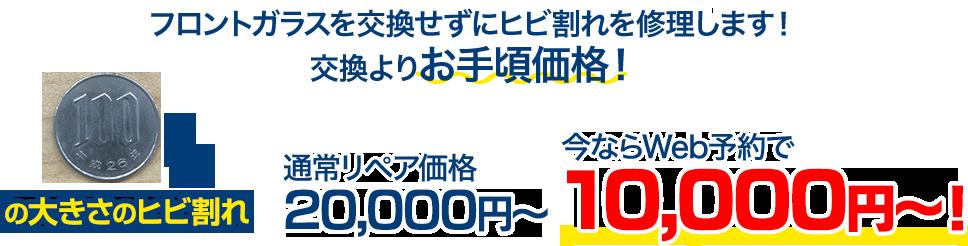 フロントガラスを交換せずにヒビ割れを修理します!交換よりお手頃価格! 100円玉の大きさのヒビ割れ 通常リペア価格20,000円~のところを、今ならWeb予約で10,000円~!